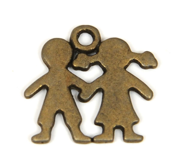 Pewter Charm - Boy and Girl