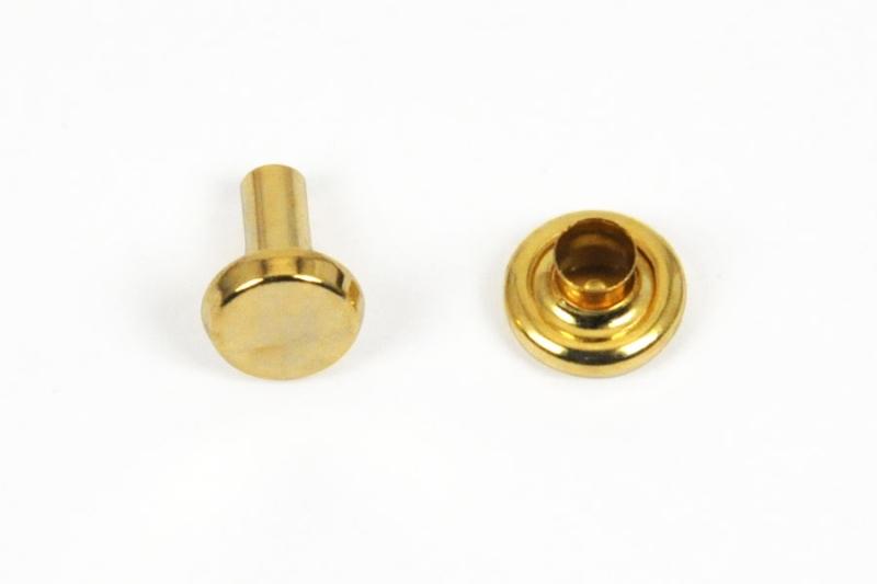 Double Side Capped Tubular Rivet (Large) Gold