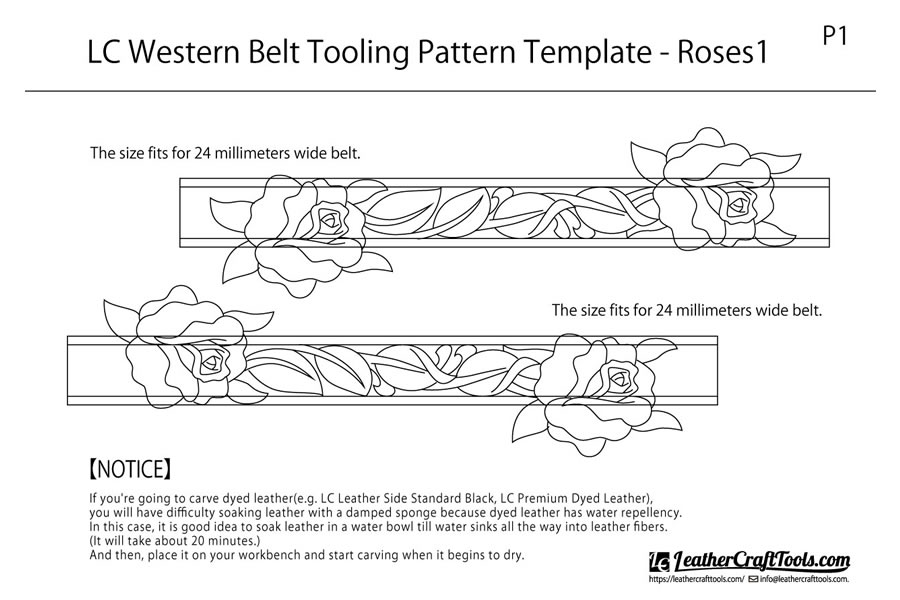 <Free Download> LC Western Belt Tooling Pattern Template - Roses1
