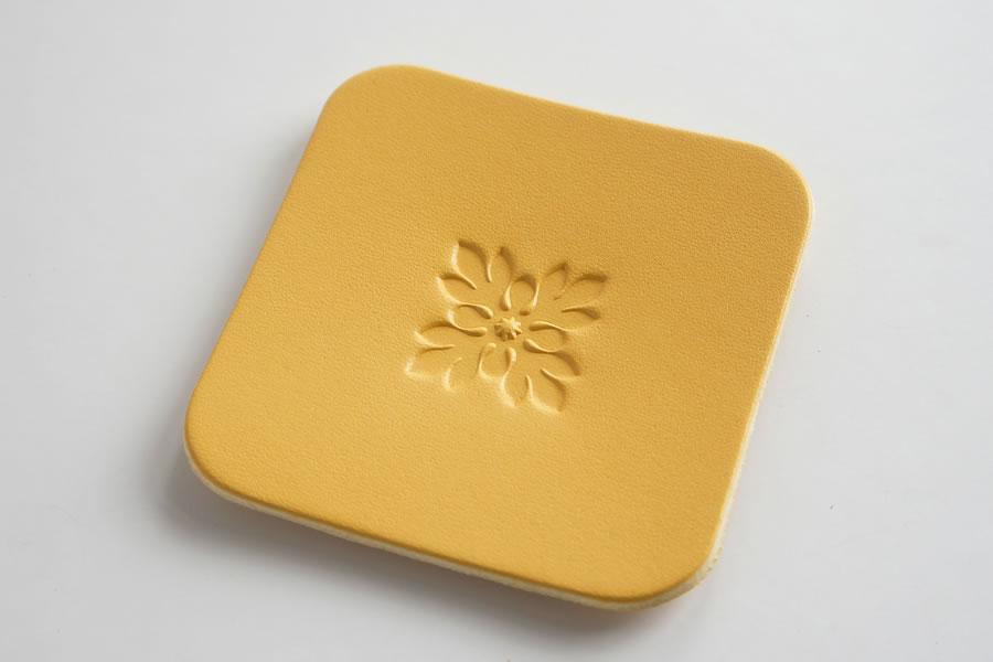 Leather Coaster <Hawaiian Pattern ULU01> - LC Premium Dyed Leather Struck Through