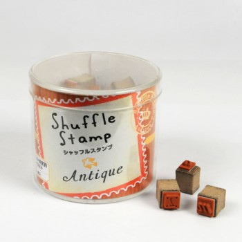 Shuffle Stamp - Antique Alphabets (Lower Case Letters) and Numbers