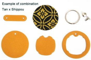 Japanese Pattern Inlay Keychain Kit <LC Premium Dyed Leather Struck Through>