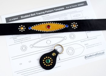 <Free Download> LC Original Studded Belt Tracing Pattern Template - Eye & Flower 39AR01 -