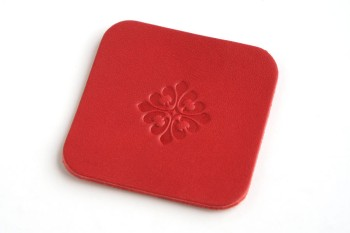 Leather Coaster <Gothic Pattern GF01> - LC Premium Dyed Leather Struck Through