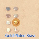 Double Cap Rivets 6mm Gold Plated Brass