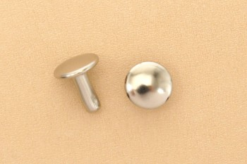 Long Double Cap Rivets Solid Brass Nickel Plated 9mm