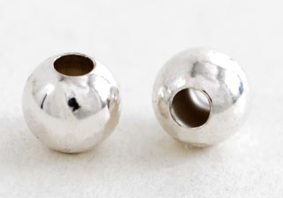 Silver Beads - plane (2 pcs / 6.0 mm / Hole size 2.4 mm )