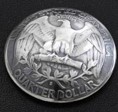 Washington Dollar Coin Eagle Matte Finish <Screw Back>