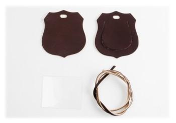 Luggage Tag Kit - Western Badge < Oiled Leather >(1 set)