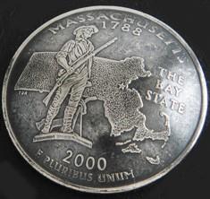 Massachusetts State Quarter Matte Finish <Screw Back>