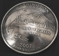 Washington State Quarter Matte Finish <Screw Back>