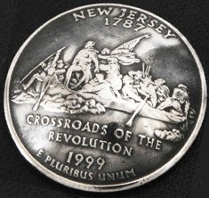 New Jersey State Quarter Matte Finish <Screw Back>