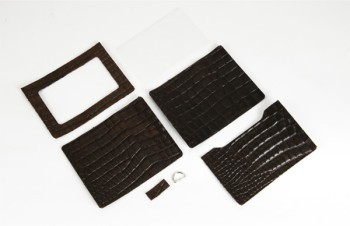 ID Card Case Kit Standard - Croc Embossed Cowhide Leather