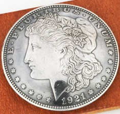 Morgan Dollar 1921 Matte Finish Type B (Obverse) XF/AU <Screw Back>